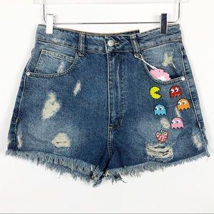Zara | Pac-Man Cutoffs Jean Shorts High Waisted